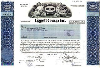 Liggett Group Inc.  1977 Stock Certificate photo