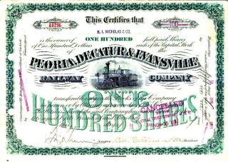 Peoria,  Decatur & Evansville Railway Company 1887 Stock Certificate photo