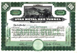 Utah Metal And Tunnel Company Me 1937 Stock Certificate photo
