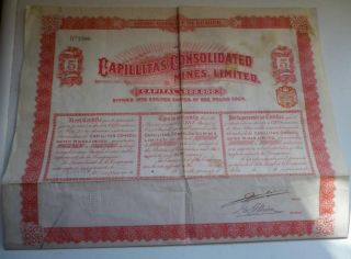 Uk Gb Argentina 1910 Capillitas Consolidated Mines 5 Shares £5 Uncancelled Coup photo