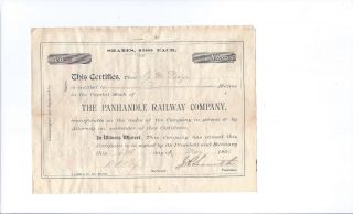Scarce Issued 1891 Railroad Stock Certificate - The Panhandle Railway Co (texas) photo