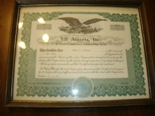 Vintage Us Amvets Inc Shares Certificate James F Reaves 1983 Office Decor photo