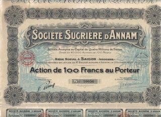 Indochina Saigon Bond 1929 Sugar Societe Sucriere Annam 100 Fr Deco photo