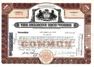 Belmont Iron Stock Certificate photo