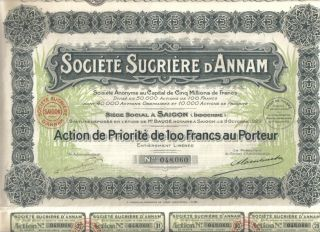 Indochina Saigon Bond 1932 Sugar Societe Sucriere Annam 100 Fr Deco photo