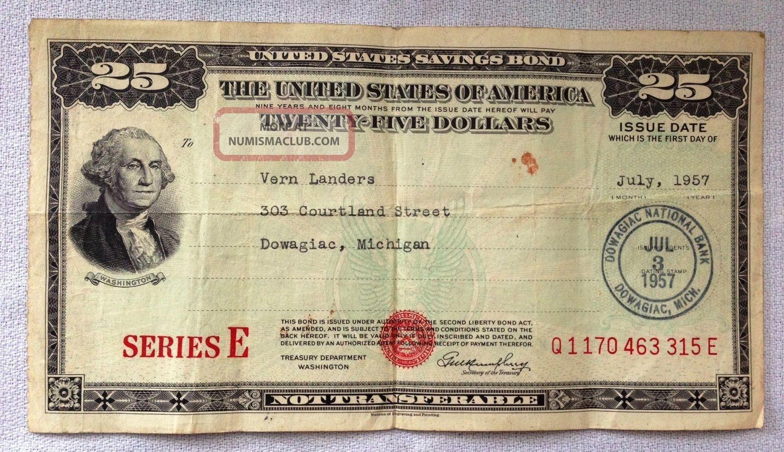 Us Savings Bond - Series E - $25 - July 1957 - 315e Stocks & Bonds, Scripophily photo