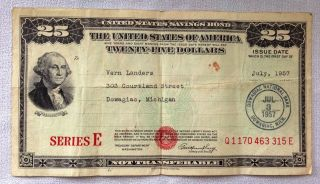 Us Savings Bond - Series E - $25 - July 1957 - 315e photo