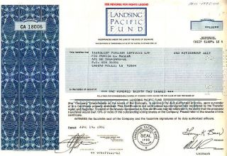 Landsing Pacific Fund 1992 Stock Certificate photo