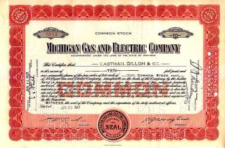 Michigan Gas And Electric Company Mi 1947 Stock Certificate photo
