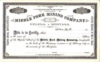 Middle Fork Mining Company Mt 188 - Stock Certificate photo