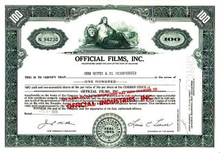 Official Films,  Inc.  1970 Stock Certificate photo