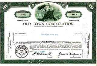 Old Town Corporation Ny 1967 Stock Certificate photo