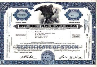 Pittsburgh Plate Glass Pa 1963 Stock Certificate photo