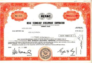 Refac Technology Development Corporation 1972 Stock Certificate photo