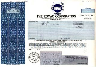 Rovac Corporation 1987 Stock Certificate photo