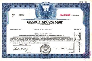 Security Options Corp.  Ny 1961 Stock Certificate photo