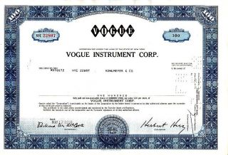 Vogue Instrument Corp.  Ny 1968 Stock Certificate photo