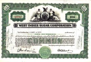 West Indies Sugar Corporation 1944 Stock Certificate photo