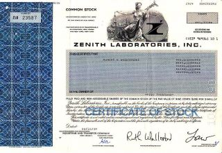 Zenith Laboratories,  Inc.  Nj 1989 Stock Certificate photo