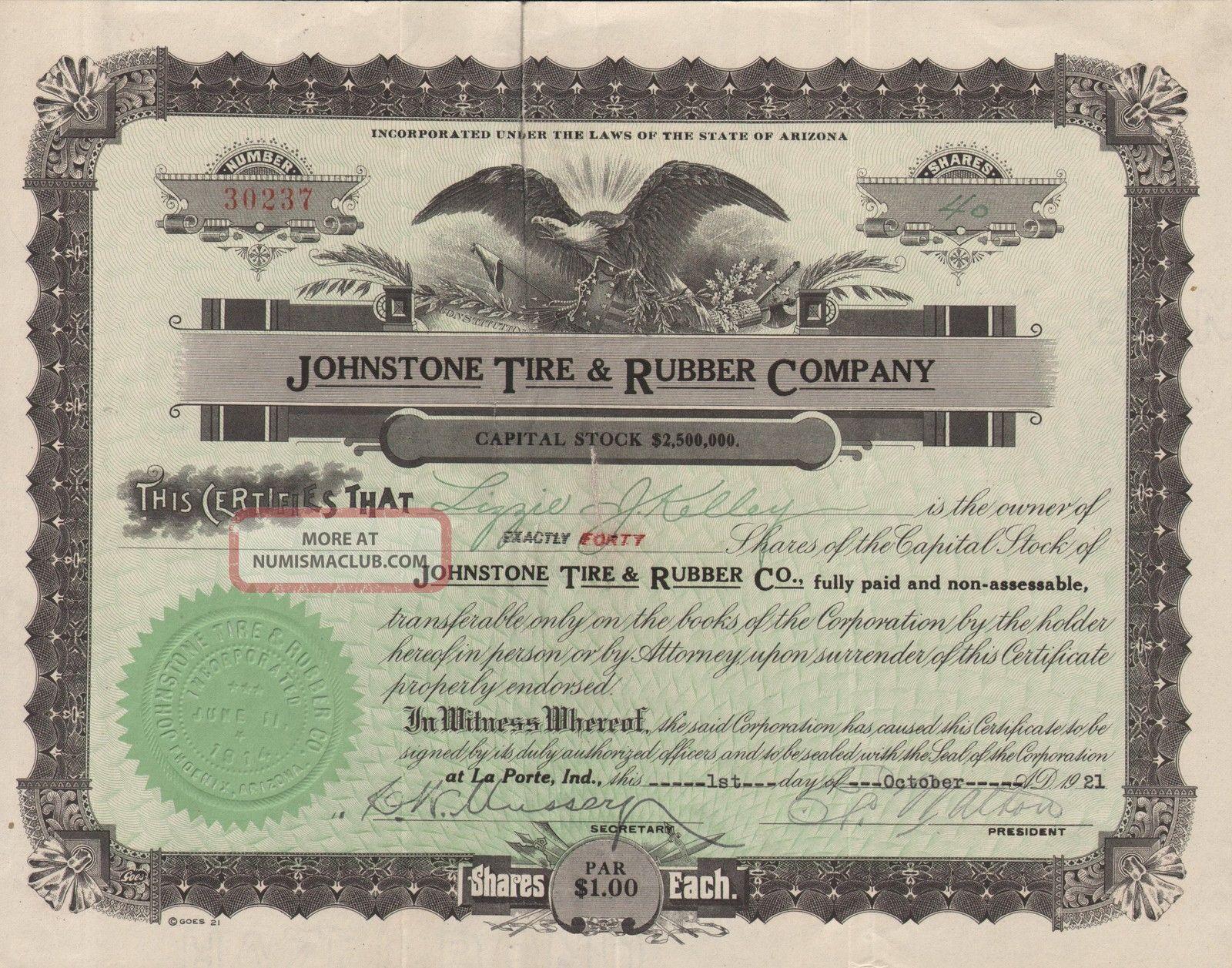 Usa Johnstone Tire & Rubber Company Stock Certificate 1921 World photo