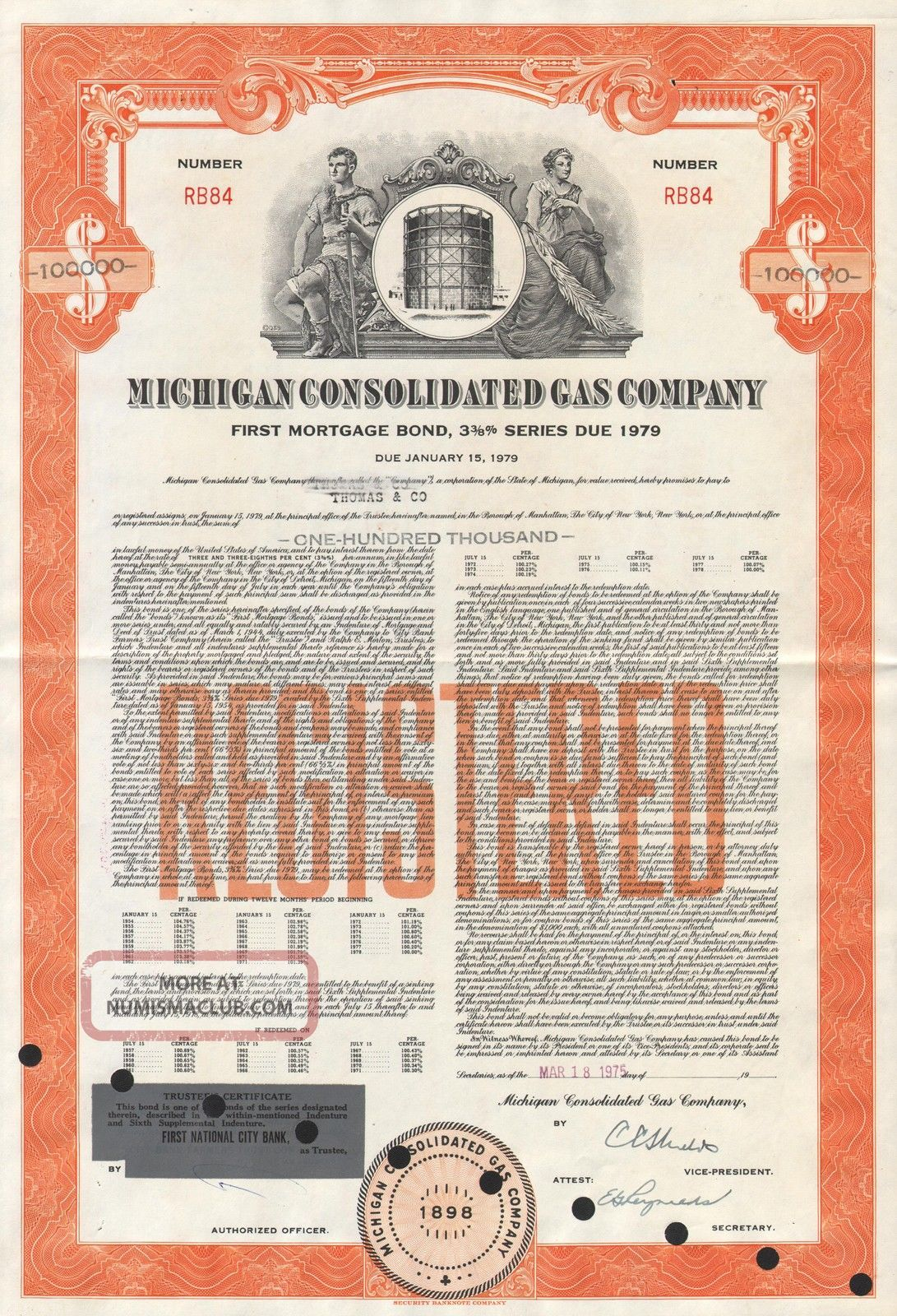 Usa Michigan Consolidated Gas Company Stock Certificate $100,  000 World photo