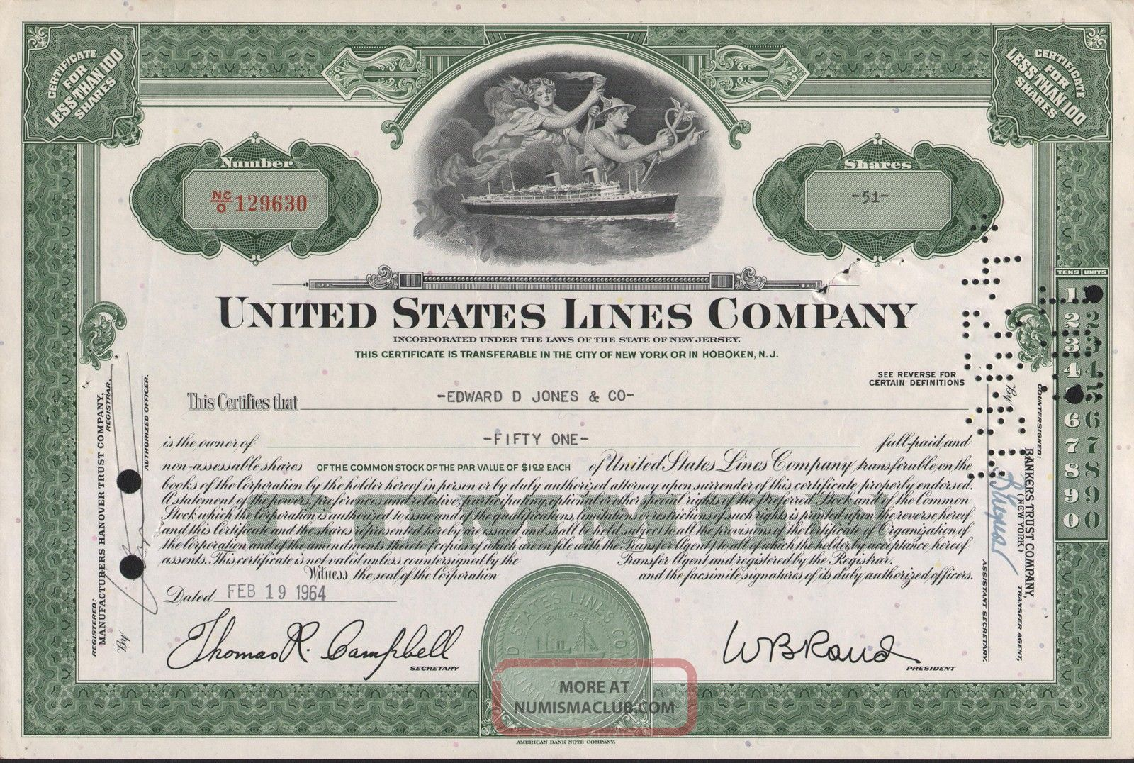 Usa United States Lines Co Stock Certificate World photo