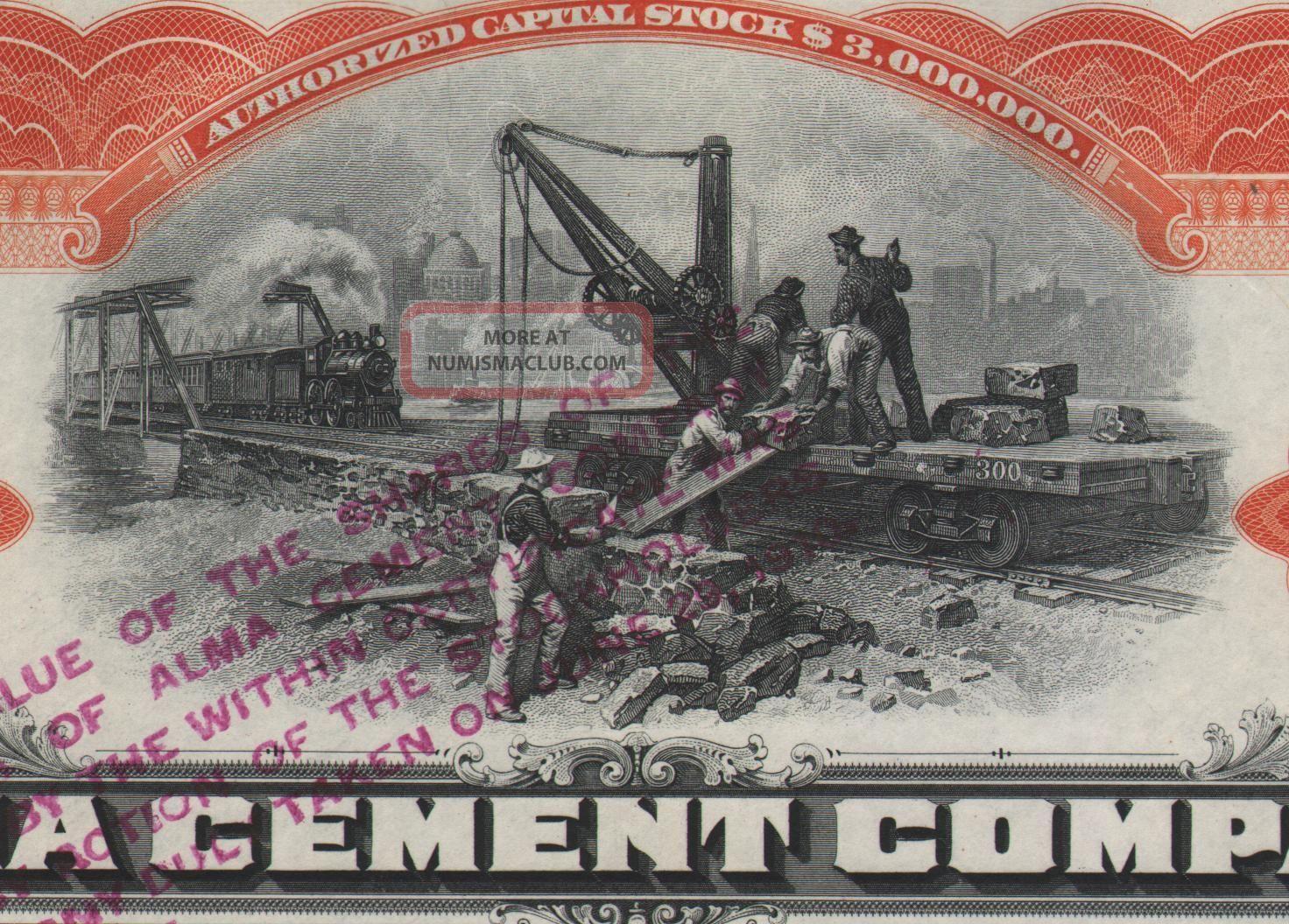 Usa Alma Cement Company Stock Certificate 1908 Great Vignette World photo