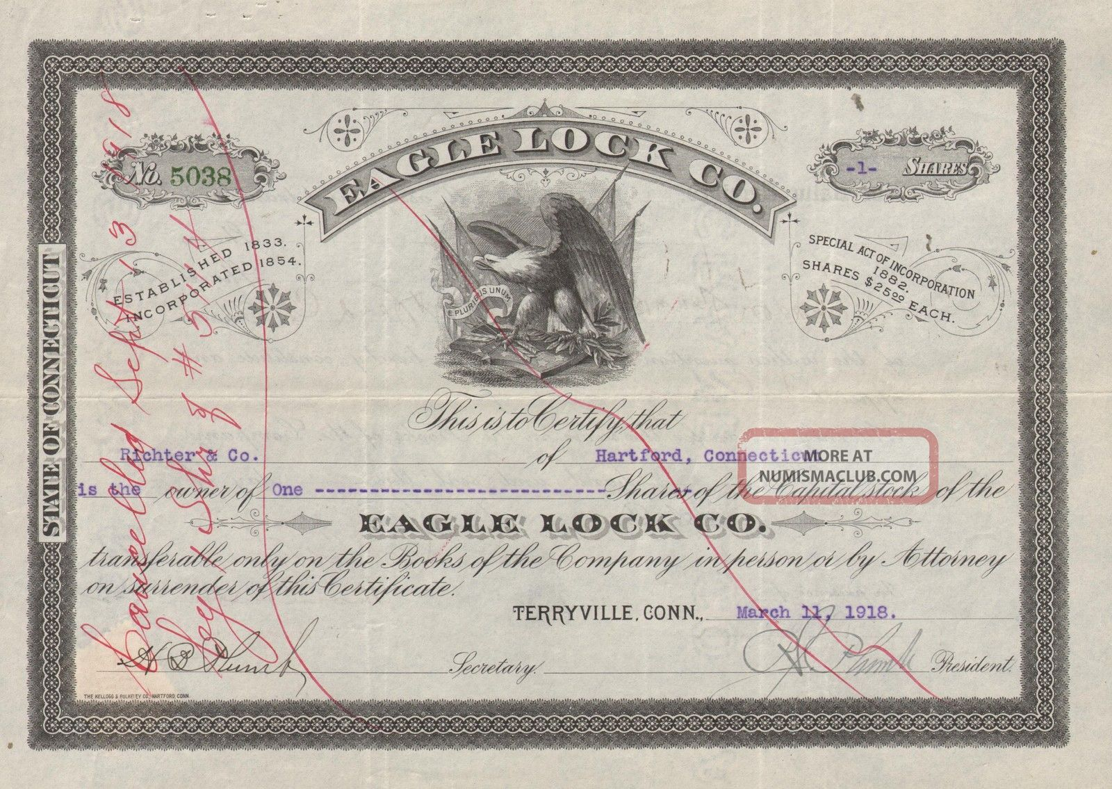 Usa Eagle Lock Co Stock Certificate 1918 Connecticut World photo
