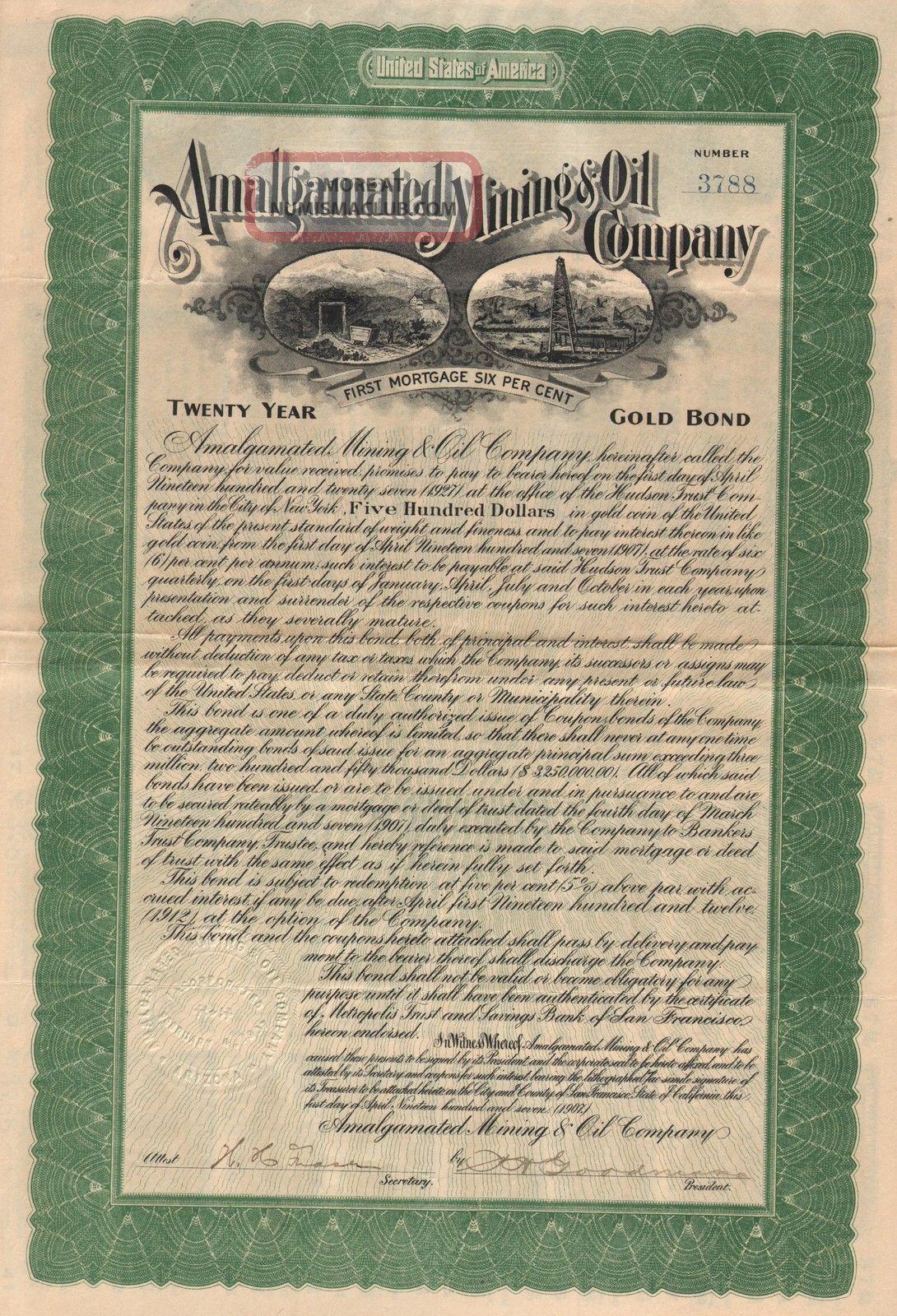 Usa Amalgamated Mining & Oil Company Stock Certificate 1907 World photo