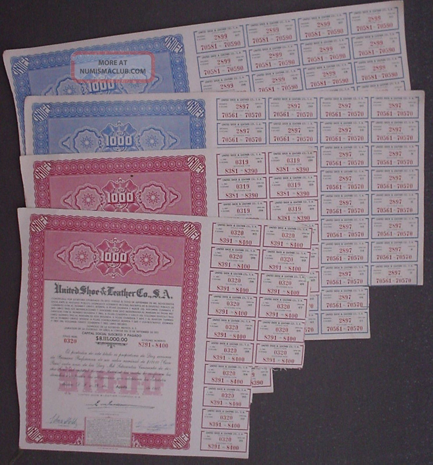 4 X United Shoe & Leather Co Sa.  Mexico $1000 Agosto 1947 Uncancelled + Coupons Stocks & Bonds, Scripophily photo