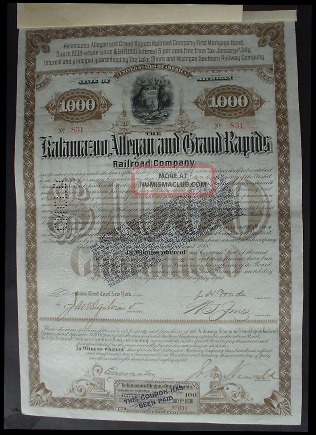 The Kalamazoo Allegan And Grand Rapids Rr Company 1888 Stocks & Bonds, Scripophily photo