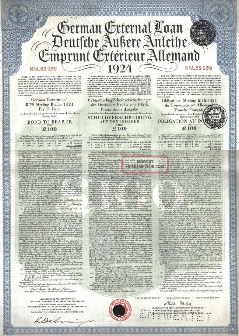 Germany Government Loan 1924 Bond 7% French Issue £100 Daves Coupons World photo