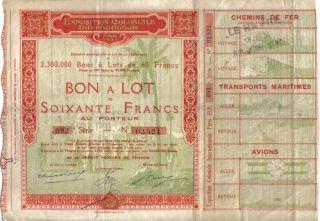 France Paris 1931 International Colonial Exhibition 60 Fr Top Deco Uncancelled photo