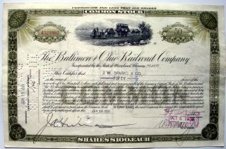 Stock Certificate Baltimore & Ohio Rr Co.  Share $100.  00 Each Dated 1938 Swiss photo