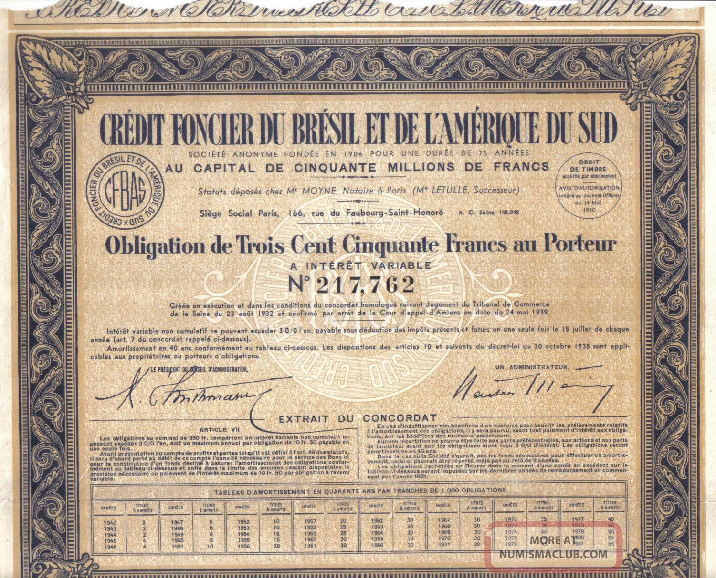 Brazil Bond 1940 Credit Foncier Bresil Et Amerique Sud 350 Fr Uncancelled Coup World photo