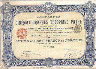 France 1907 Cinema Cinematographes Theophile Pathe 100 Fr Uncancelled Coup Deco photo