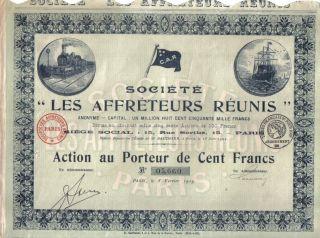 France 1919 Ship Shipper Affreteurs Reunis Co Train 100fr Uncancelled Coup Deco photo