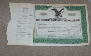 Eastern Malleable Iron Company Stock Certificate 1936 photo
