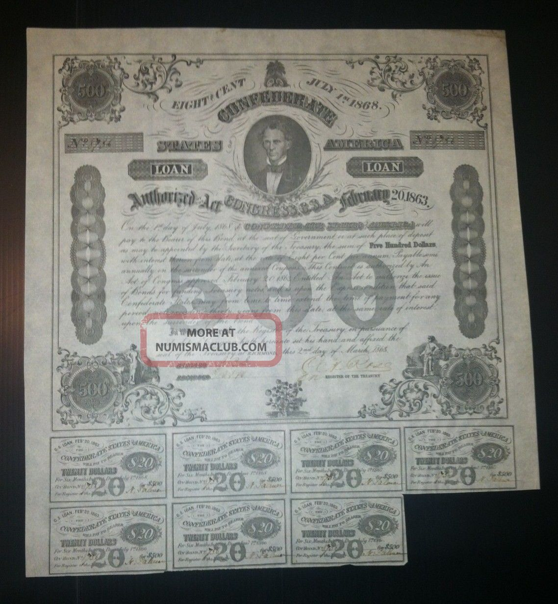 Confederate War Bond - 500 8% With Coupons Attached Stocks & Bonds, Scripophily photo