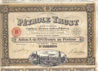 France 1924 Oil Petrole Trust Company 100 Francs Uncancelled Coupons Top Deco photo