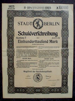 Germany,  8 - 18% Loan Of The City Of Berlin 100000 Mark,  1923 Uncancelled photo