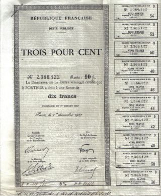 France 3% Public Debt State Loan 1947 10 Francs Uncancelled Coupons photo