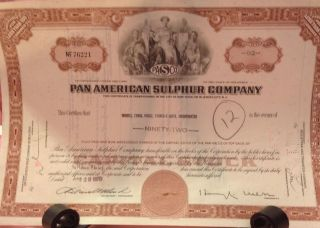 1970 Pan American Sulphur Company Stock Certificate Vintage photo