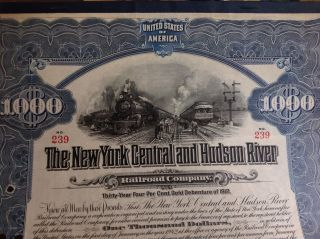$1,  000 Ny Central & Hudson River Railroad Co.  30 Year Four% Gold Debenture 1912 photo