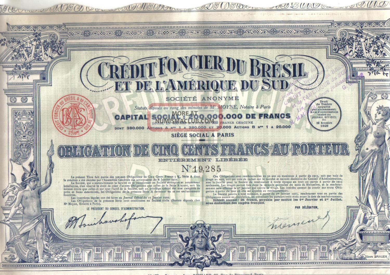 Brazil Bond 1929 Credit Foncier Bresil 500 Fr Extra Deco Uncancelled Coupons World photo