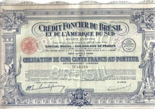Brazil Bond 1929 Credit Foncier Bresil 500 Fr Extra Deco Uncancelled Coupons photo