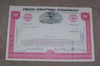 Penn Central Company Railroad Stock Certificate 1970 photo