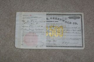 I And E Greenwald Co Stock Certificate1904 W/stub photo