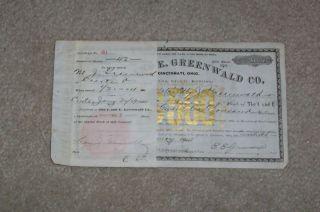 I And E Greenwald Co Stock Certificate1904 W/stub photo