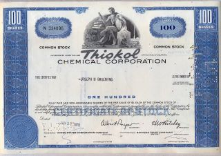 Thiokol Chemical Corporation Stock Certificate photo